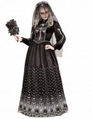 Schwarzes Gothic Skelett Kostüm Damen Halloween
