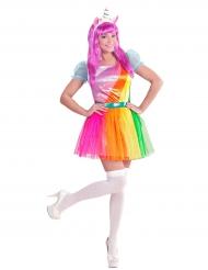 Einhorn-Kostüm für Damen in Regenbogenfarben