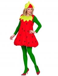 Zuckersüßes Erdbeerkostüm für Damen rot-grün-gelb