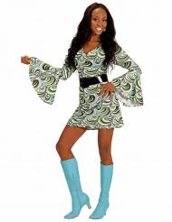70er-Jahre-Discokostüm für Damen schwarz-weiss-grün