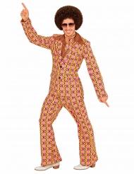 Verrückter 70er-Jahre Anzug Disco-Outfit gelb-rosa-schwarz