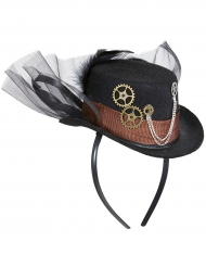 Steampunk-Hut mit Federn und Schleier Accessoire schwarz