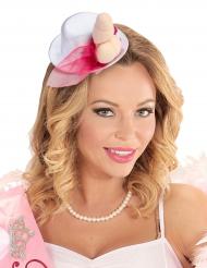 Miniatur-Hut JGA für Damen weiss-pink