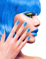Künstliche Fingernägel mit Klebstoff blau
