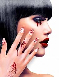 Blutige Fingernägel für Damen weiss-rot