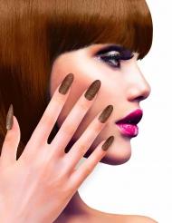 Künstliche Glitzer Fingernägel mit Klebstoff kupfer