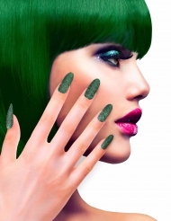 Künstliche Glitzer Fingernägel mit Klebstoff grün