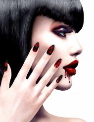 Künstliche Fingernägel mit Blut Halloween-Accessoire 12 Stück rot