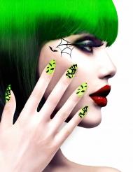 Kunstnägel inkl. Klebstoff Fledermäuse für Halloween
