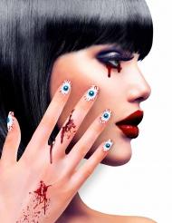 Kunstnägel inkl. Klebstoff Augen für Halloween