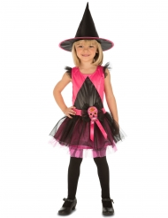 Kleine Totenkopf-Hexe Kinderkostüm für Halloween schwarz-pink