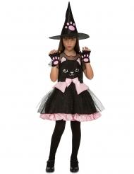 Katzen-Hexenkostüm für Mädchen Halloween-Verkleidung schwarz-rosa