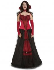 Elegante Vamir-Gräfin Damenkostüm für Halloween rot-schwarz