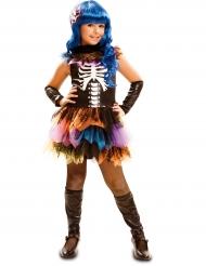 Skelett in Regenbogenfarben Halloweenkostüm für Mädchen