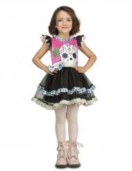 Tag der Toten-Halloween-Kostüm für Mädchen schwarz-rosa-weiss