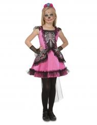 Festliches Tag der Toten-Kostüm für Mädchen Halloween schwarz-pink