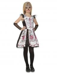 Tag der Toten-Mädchenkostüm für Halloween schwarz-rosa-weiss