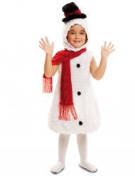 Süßes Schneemann Kinder-Kostüm weiß-rot-schwarz