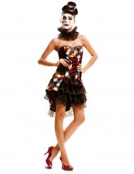 Sexy Clowns-Kotüm für Damen bunt