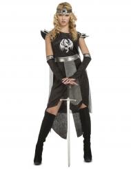Drachen Ritterkostüm für Damen schwarz-grau
