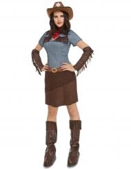 Western-Cowgirl Kostüm für Damen blau-braun