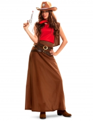 Wildwest Cowgirl-Kostüm für Damen braun-rot