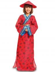 Länder-Kinderkostüm für Mädchen China rot-blau