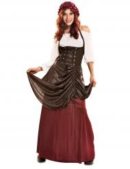 Mittelalterkostüm für Damen braun-rot-weiss