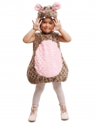 Lustiges Hippo Tierkostüm für Kinder rosa-braun