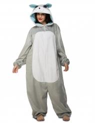 Wolf Jumpsuit mit Kapuze für Erwachsene grau