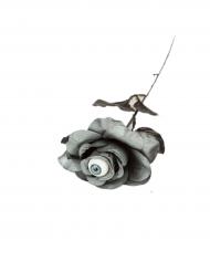 Rose mit Auge Halloween-Zubehör schwarz-grau 40 cm