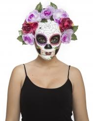 Skelett-Maske Dia de los Muertos für Damen weiss-bunt