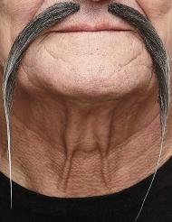 Chinesen Schnurrbart für Herren grau