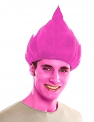 Lustige Troll Perücke für Erwachsene pink