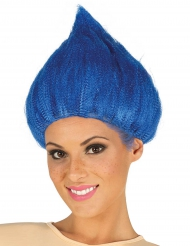 Witzige Troll Perücke für Erwachsene blau