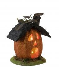 Kleines Kürbis-Haus Halloween-Dekoration mit Licht bunt 23cm