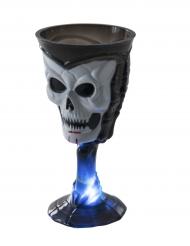 Totenkopf-Glas mit Leuchteffekt Halloween