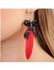 Ohrringe rote Federn für Erwachsene