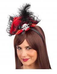Piraten-Minihut mit Haarreif Kostümaccessoire rot-schwarz
