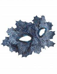 Pailletten Maske mit Blatt-Motiv blau