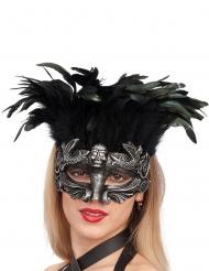 Totenschädel Augenmaske mit Federn schwarz-silber