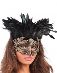 Totenschädel Augenmaske mit Federn schwarz-gold