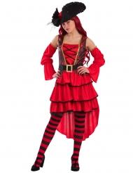 Piratenkostüm rot für Damen