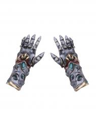 Ritterhandschuhe aus Latex hochwertiges Kostüm-Zubehör grau-türkis-gold