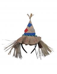Haarreif Vogelscheuche Kostüm-Zubehör beige-blau-rot