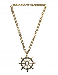Halskette mit Steuerrad Matrosen-Accessoire Ruder gold
