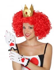Herzkönigin Handschuhe Kostümzubehör weiss-schwarz-rot