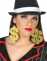 Dollar Ohrringe für Erwachsene Kostüm-Accessoire gold