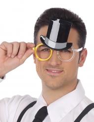 Humorvolle Silvester-Brille Zylinder Partyzubehör gold-schwarz-silber