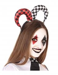 Harlekin-Haarreif Kostüm-Accessoire für Erwachsene schwarz-rot-weiss